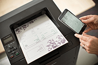 Mobilní telefon s laserovou tiskárnou