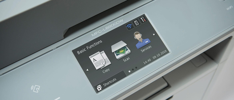 Tři ikony na dotykovém displeji MFC-L6800