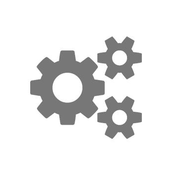 Ikona se třemi šedými ozubenými koly