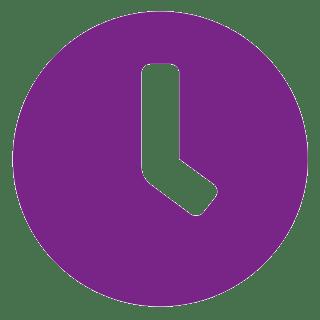 Fialová ikona hodin na bílém pozadí