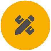 Ikona pásky Pro s tužkou a pravítkem indikující použití pro profesionály