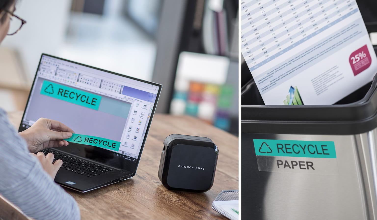 """Pracovník navrhnul na počítači štítek """"Recyklovat"""" a vytiskl jej na tiskárně štítků Brother P-touch"""