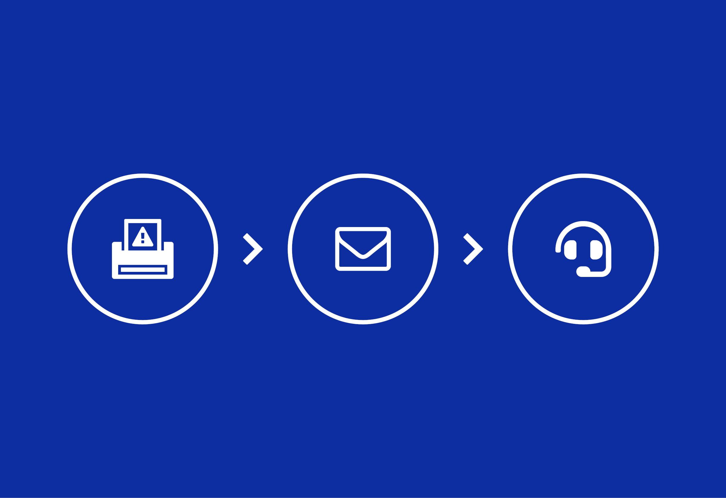 Ikona tiskárny, ikona e-mailu, ikona klíče