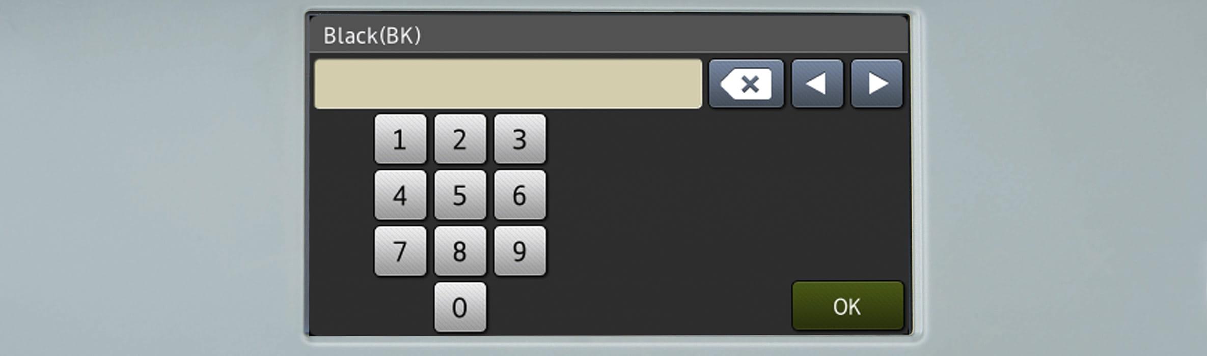 Dotykový displej multifunkční tiskárny Brother s číslem na displeji