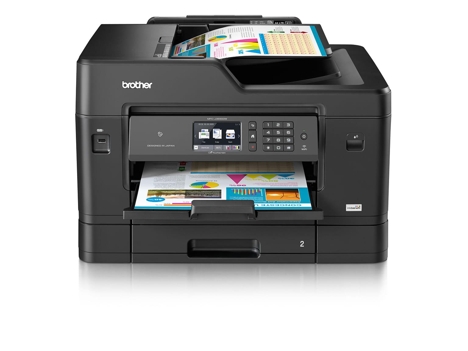 Multifunkční inkoustová tiskárna MFC-J3930DW z přední strany