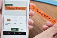 Aplikace P-touch CUBE běžící na chytrém telefonu s Android nebo iOS Apple