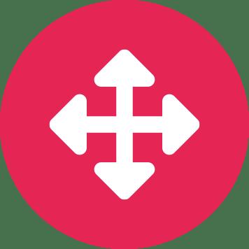 Čtyři šipky směřující na sever, východ, jih a západ v červeném kruhu