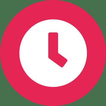 Červený kruh s bílými hodinami
