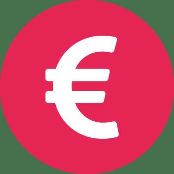 Znak bílého eura v červeném kruhu
