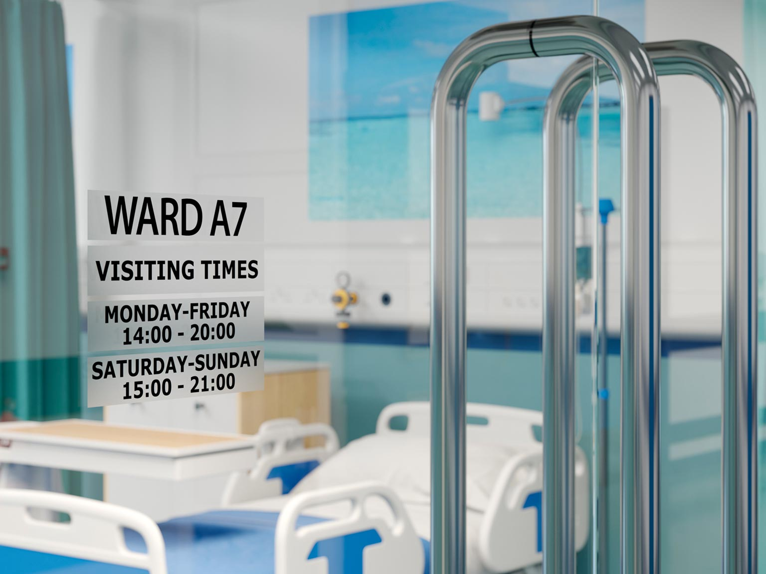 Pokyny na dveřích nemocničního oddělení zobrazující časy návštěv. Použití kazety s páskou černá na průsvitné
