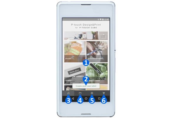 Android smartphone zobrazující hlavní funkce aplikace P-touch Design & Print
