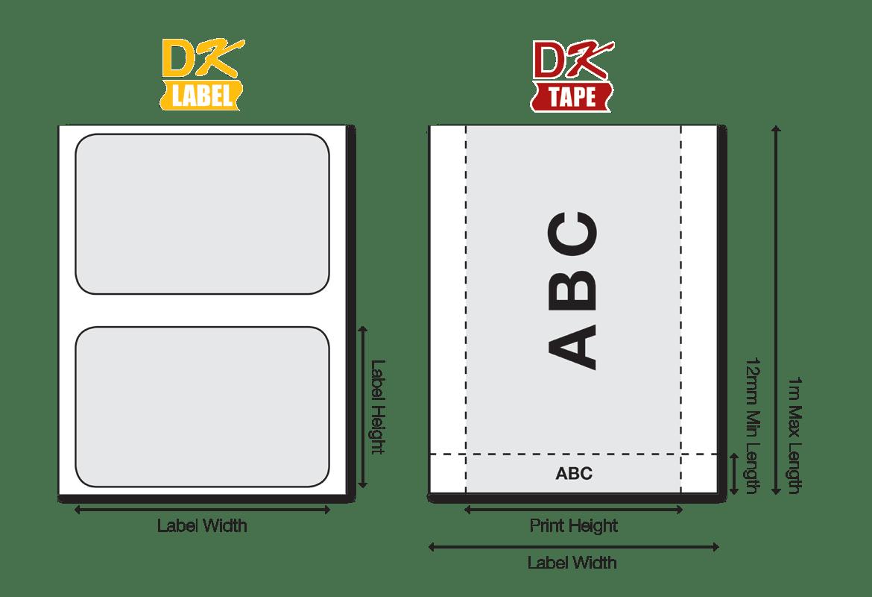 Štítky DK jsou k dispozici v různých velikostech
