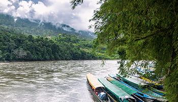 Ekologická politika - lodě na řece v deštném pralese