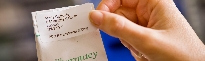 Štítek na sáček s léky