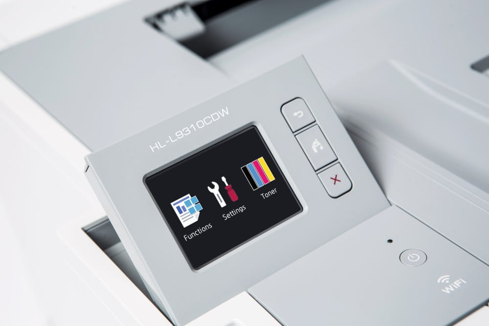 HL-L9310CDW barevná laserová tiskárna, zblízka dotykové obrazovky