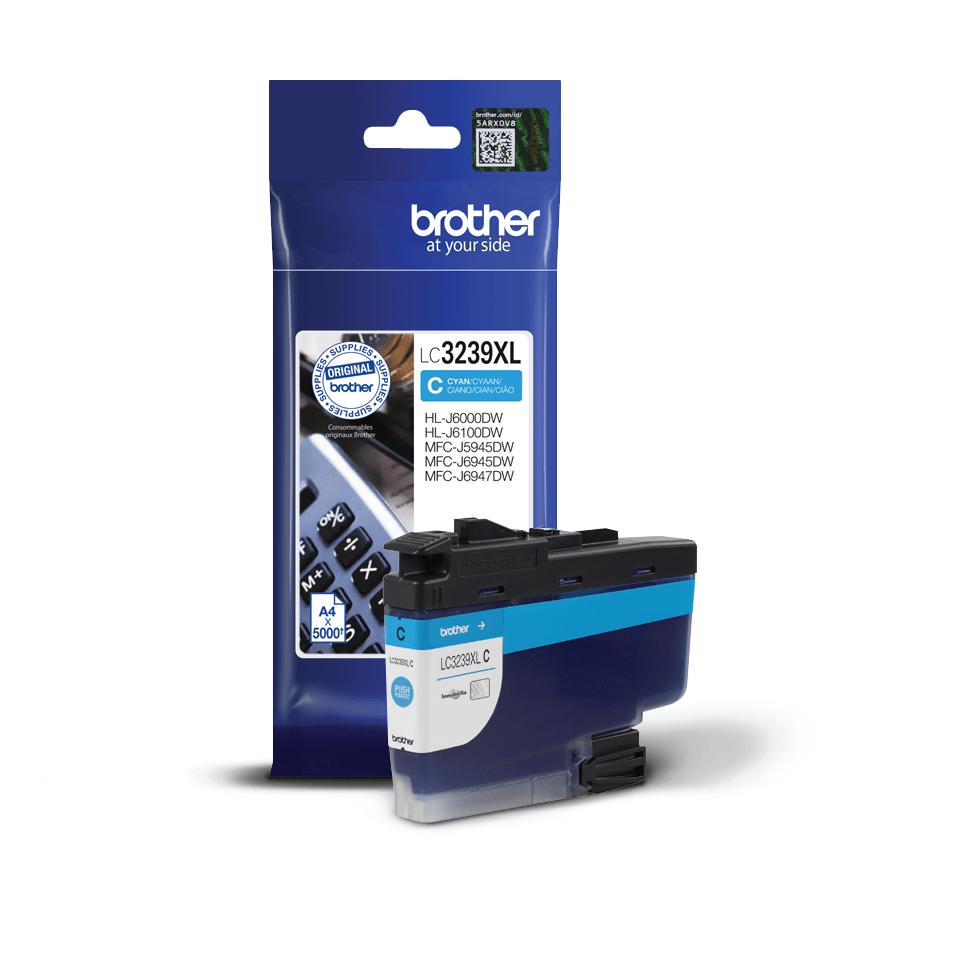 Originální Brother LC3239XLC inkoustová kazeta s vysokou výtěžností - azurová 2