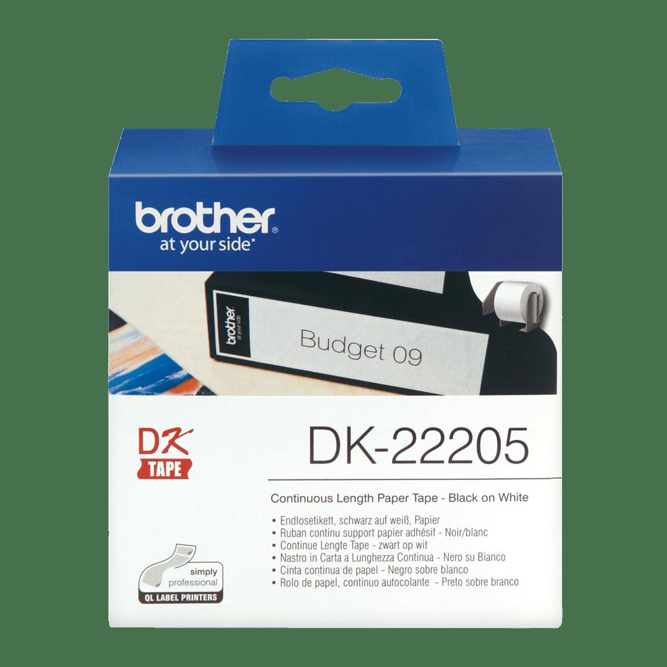 Originální kontinuální papírová role DK-22205 - černý tisk na bílé, šířka 62mm