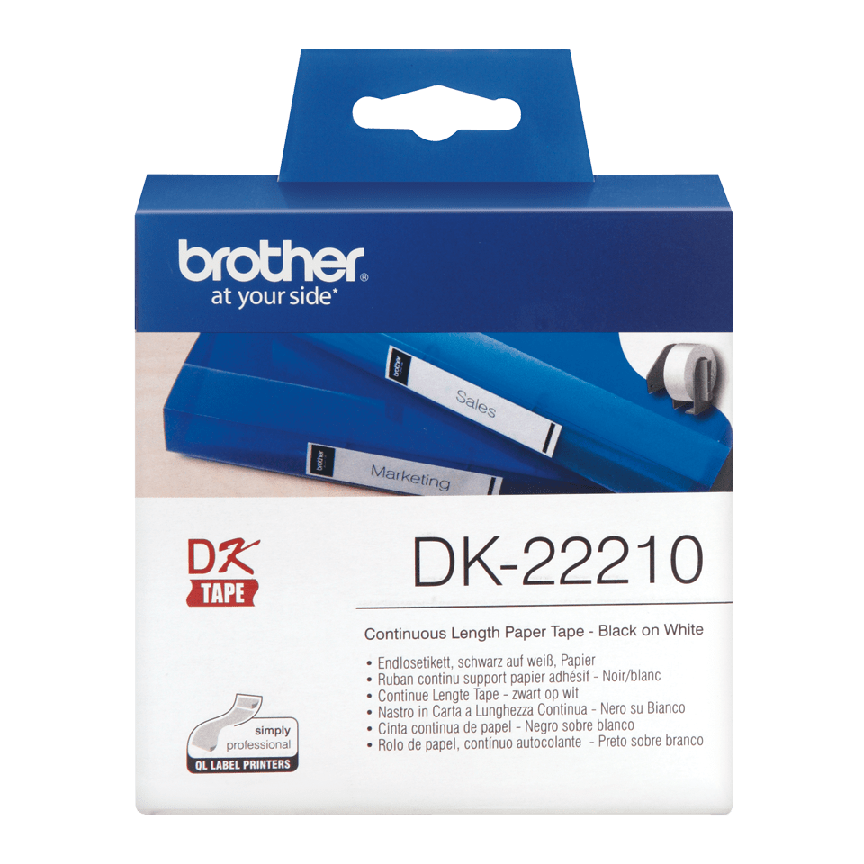 Originální páska Brother DK-22210 - černá na bílé, šířka 29 mm