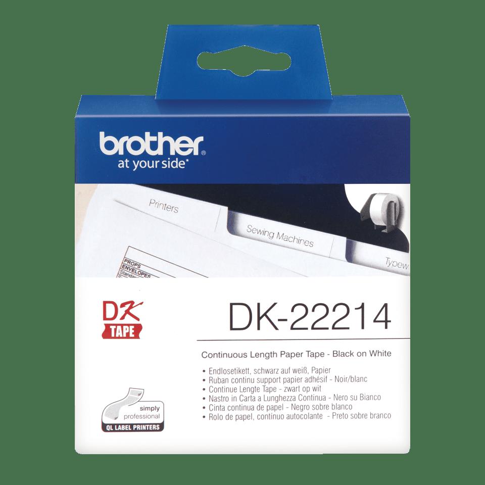 Originální Brother DK-22214 kontinuální papírová páska - černá na bílé, šířka 12 mm
