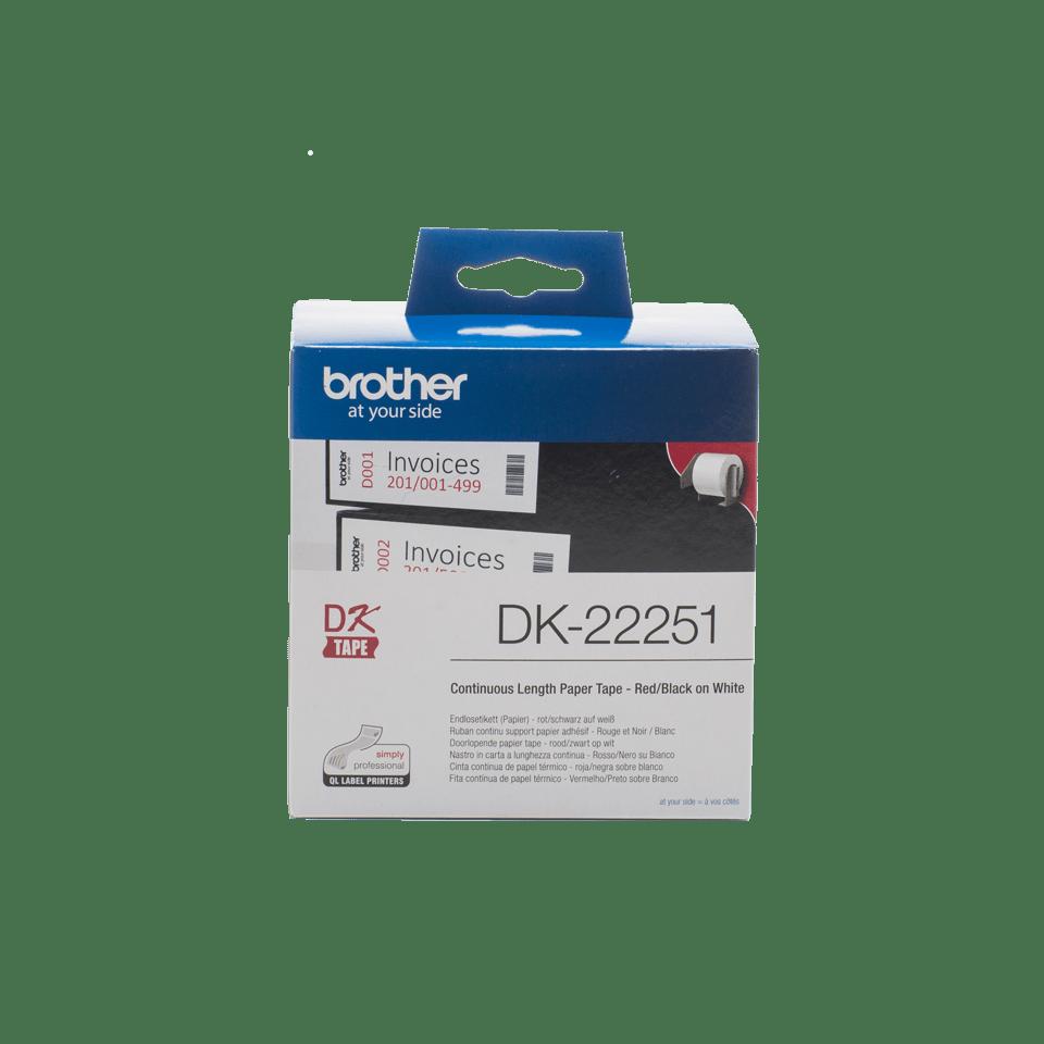 Originální štítek Brother DK-22251 - černá a červená na bílé – 62mm
