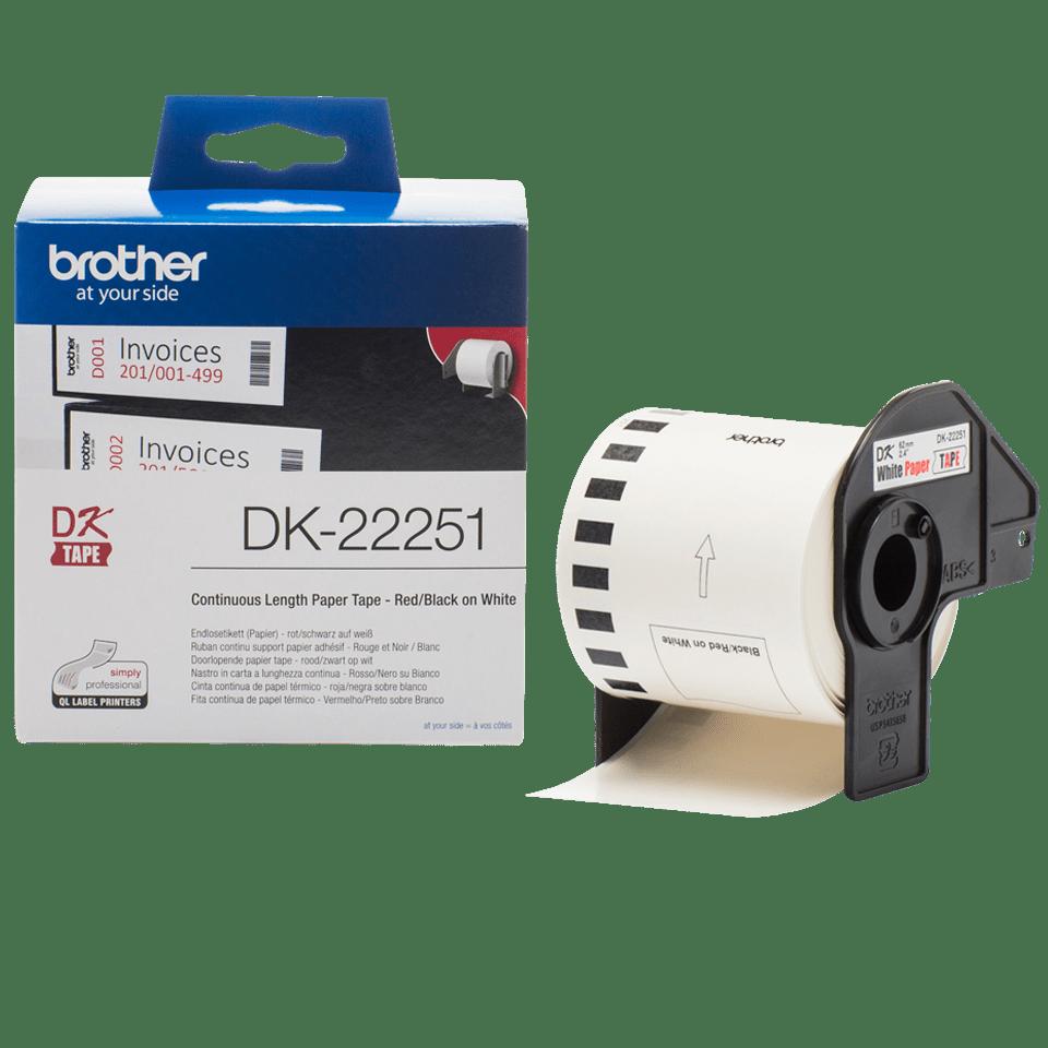 Originální štítek Brother DK-22251 - černá a červená na bílé – 62mm 3