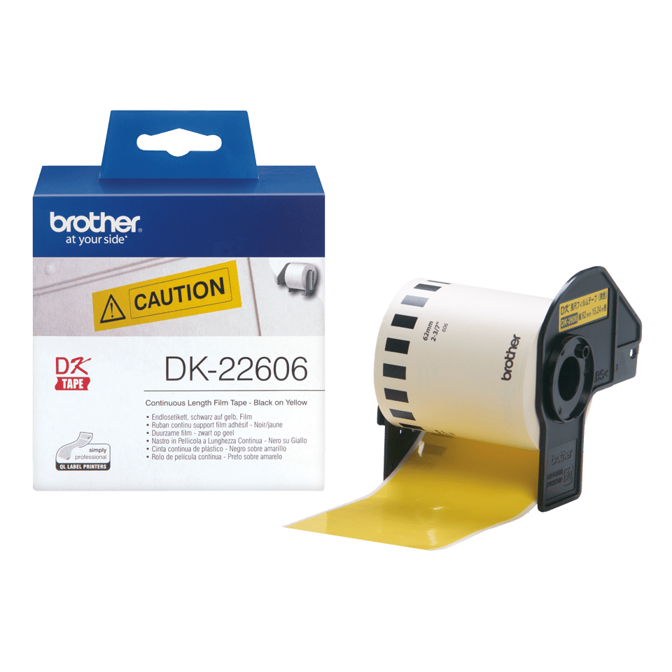 Genuine Brother DK-22606 Continuous Film Label Tape – Black on Yellow, 62mm wide