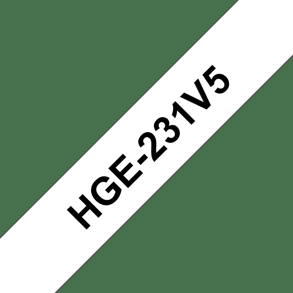 Originální štítek Brother HGe-231V5 - černá na bílé, 12 mm šířka
