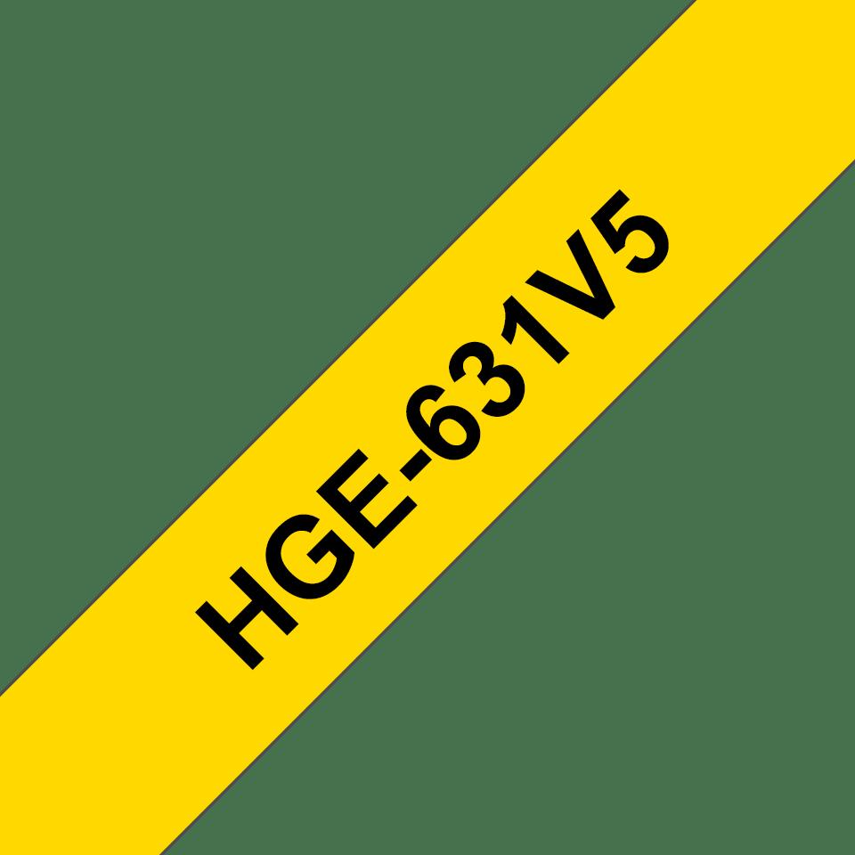 Originální štítek Brother HGe-231V5 - černá na žluté, 12 mm šířka