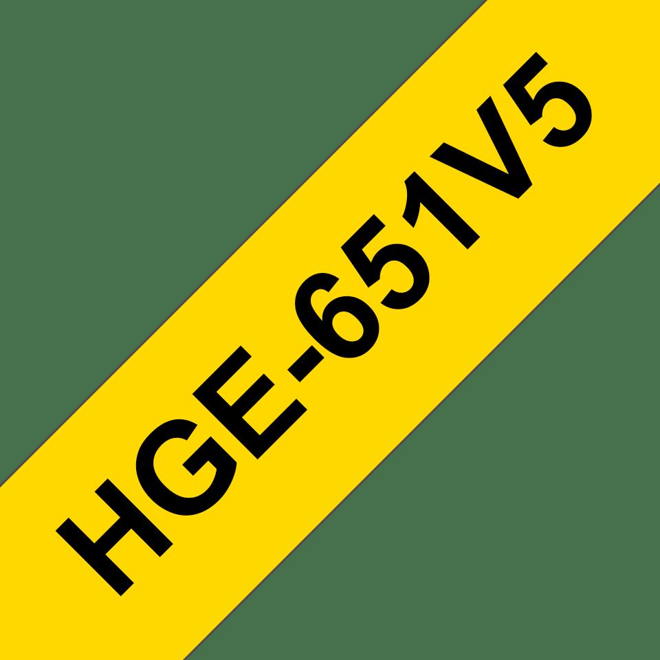 Originální štítek Brother HGe-651V5 - černá na žluté, 24 mm šířka