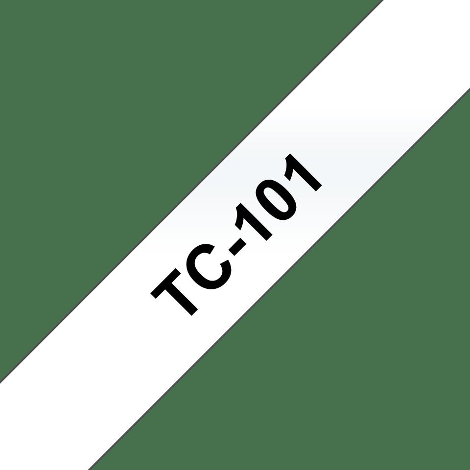 Originální pásková kazeta pro tisk štítků Brother TC101 – černý tisk na čirém podkladu, šířka 12 mm