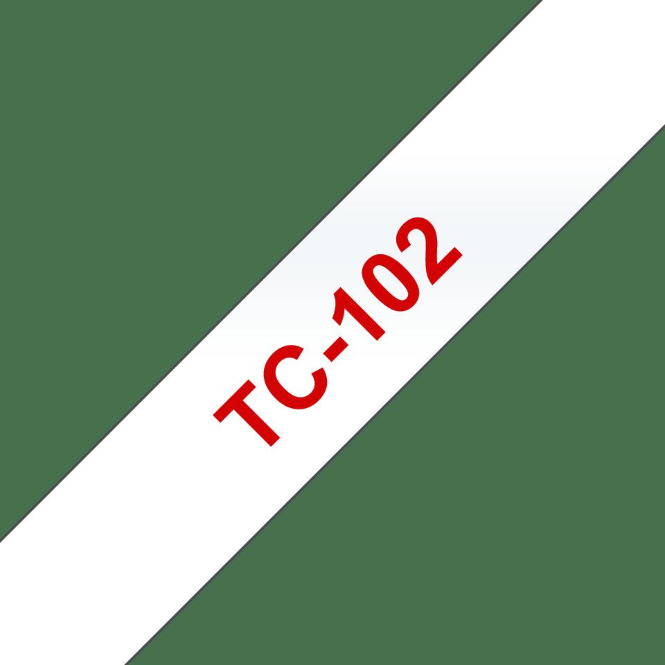 Originální pásková kazeta pro tisk štítků Brother TC102 – červený tisk na čirém podkladu, šířka 12 mm