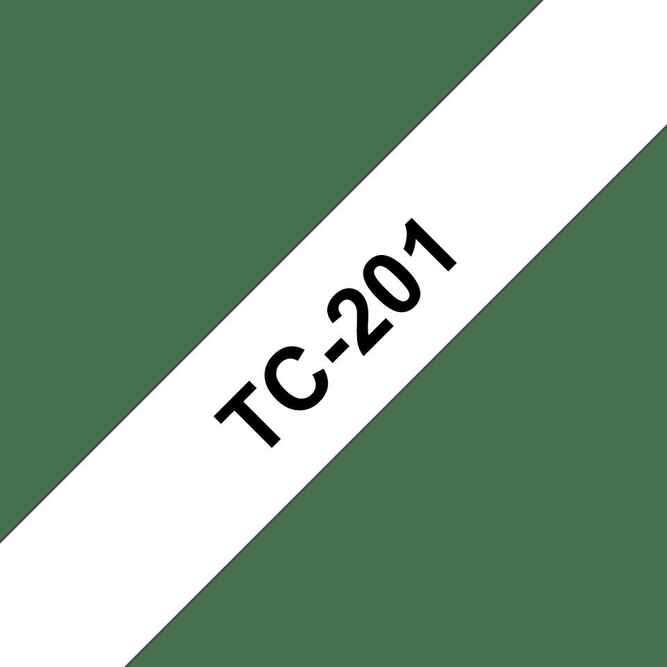 Originální pásková kazeta pro tisk štítků Brother TC201 – černý tisk na bílém podkladu, šířka 12 mm