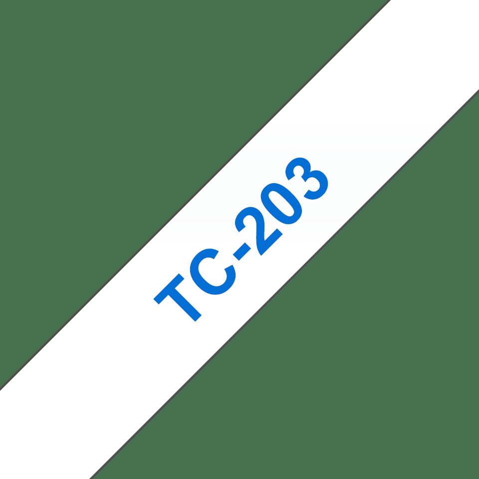Originální pásková kazeta pro tisk štítků Brother TC203 – modrý tisk na bílém podkladu, šířka 12 mm