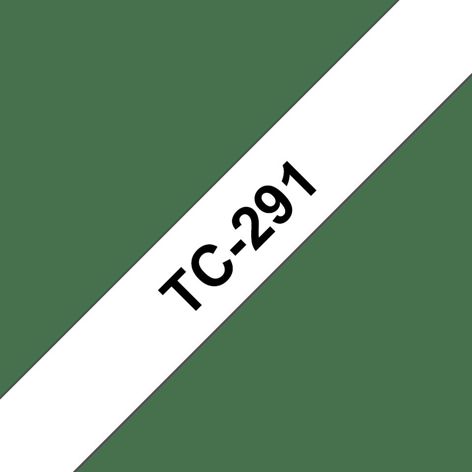 Originální pásková kazeta pro tisk štítků Brother TC291 – černý tisk na bílém podkladu, šířka 9 mm