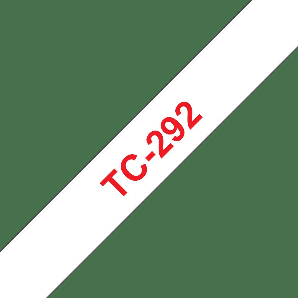 Originální pásková kazeta pro tisk štítků Brother TC292 – červený tisk na bílém podkladu, šířka 9 mm