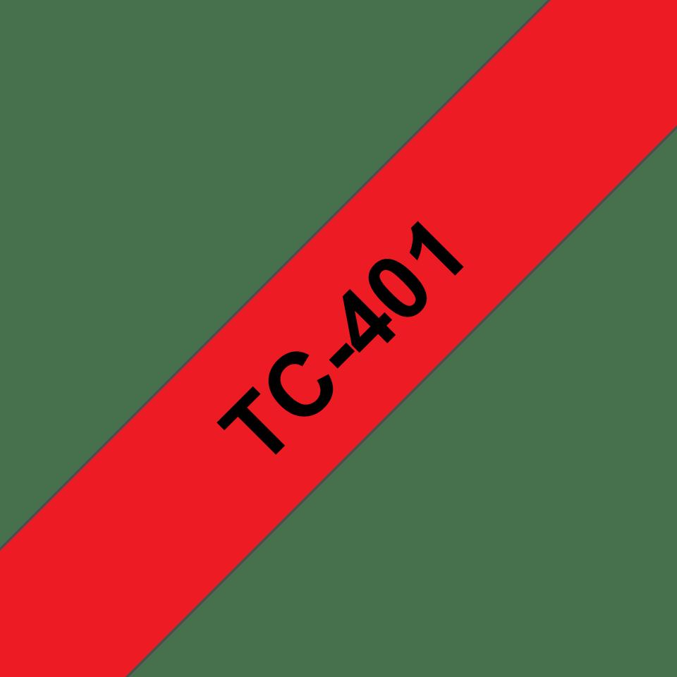 Originální pásková kazeta pro tisk štítků Brother TC401 – černý tisk na červeném podkladu, šířka 12 mm