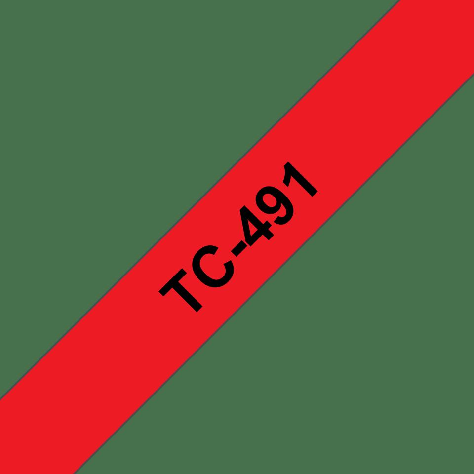 Originální pásková kazeta pro tisk štítků Brother TC491 – černý tisk na červeném podkladu, šířka 9 mm