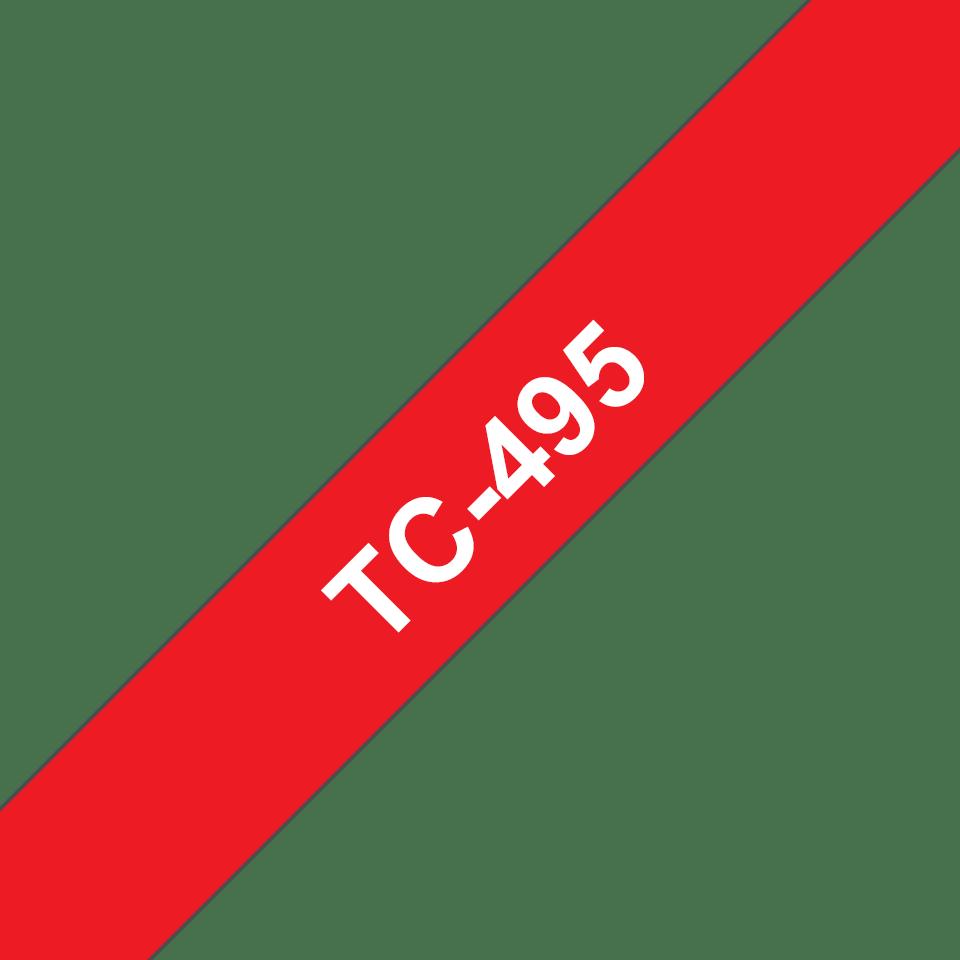 Originální pásková kazeta pro tisk štítků Brother TC495 – bílý tisk na červeném podkladu, šířka 9 mm
