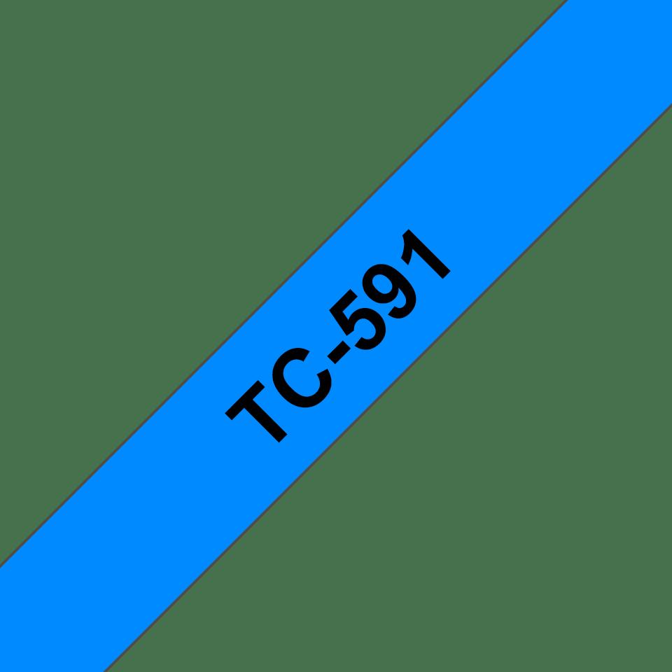 Originální pásková kazeta pro tisk štítků Brother TC591 – černý tisk na modrém podkladu, šířka 9 mm