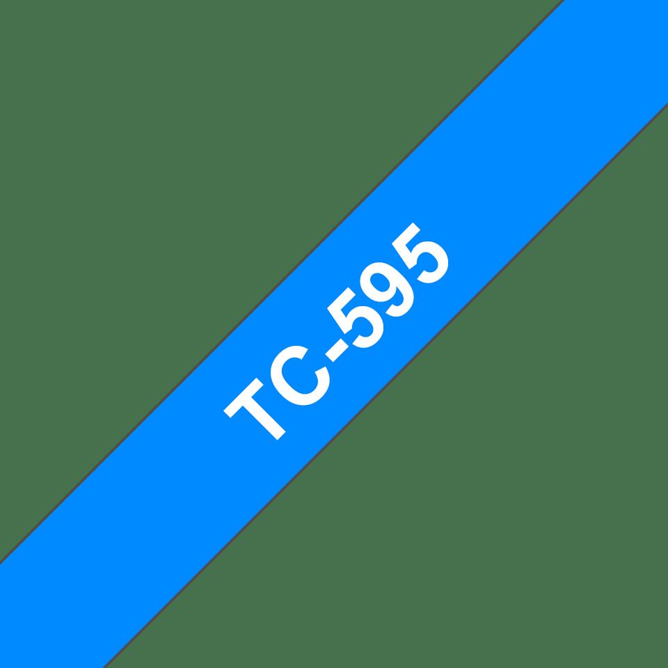 Originální pásková kazeta pro tisk štítků Brother TC595 – bílý tisk na modrém podkladu, šířka 9 mm