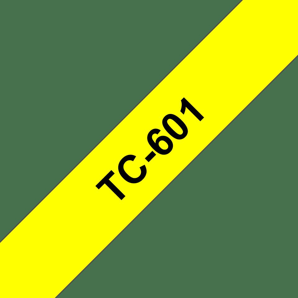 Originální pásková kazeta pro tisk štítků Brother TC601 – černý tisk na žlutém podkladu, šířka 12 mm
