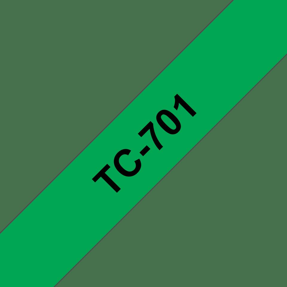 Originální pásková kazeta pro tisk štítků Brother TC701 – černý tisk na zeleném podkladu, šířka 12 mm