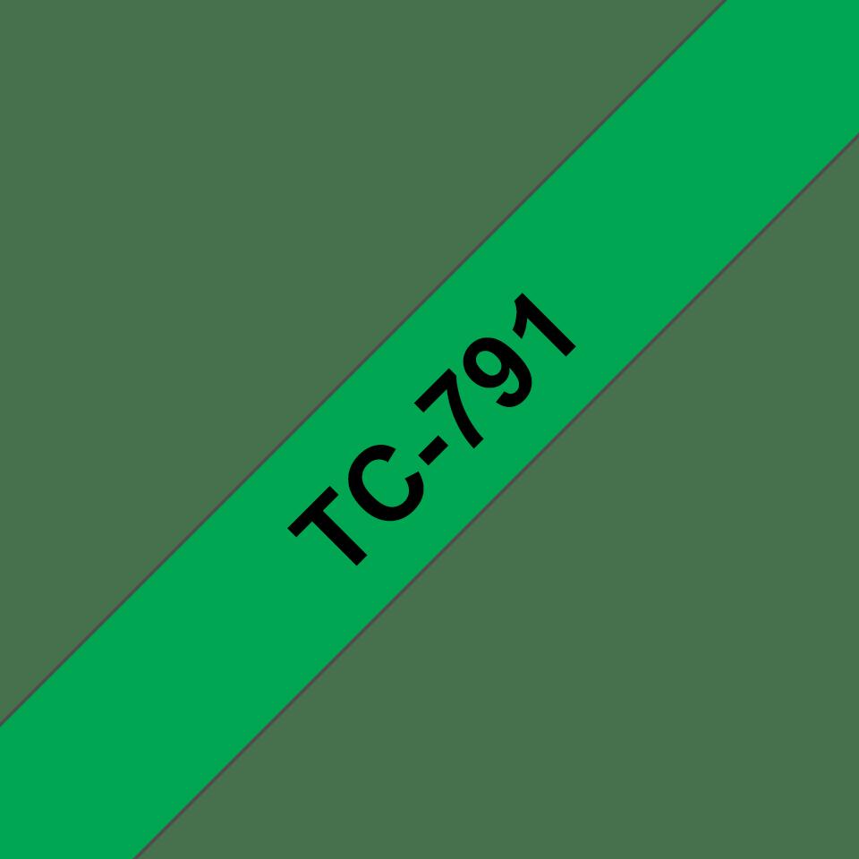 Originální pásková kazeta pro tisk štítků Brother TC791 – černý tisk na zeleném podkladu, šířka 9 mm