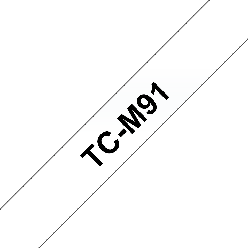Laminovaná páska Brother TCM91 se standardním lepidlem pro tisk štítků, černý tisk na čirém podkladu – šířka 9 mm