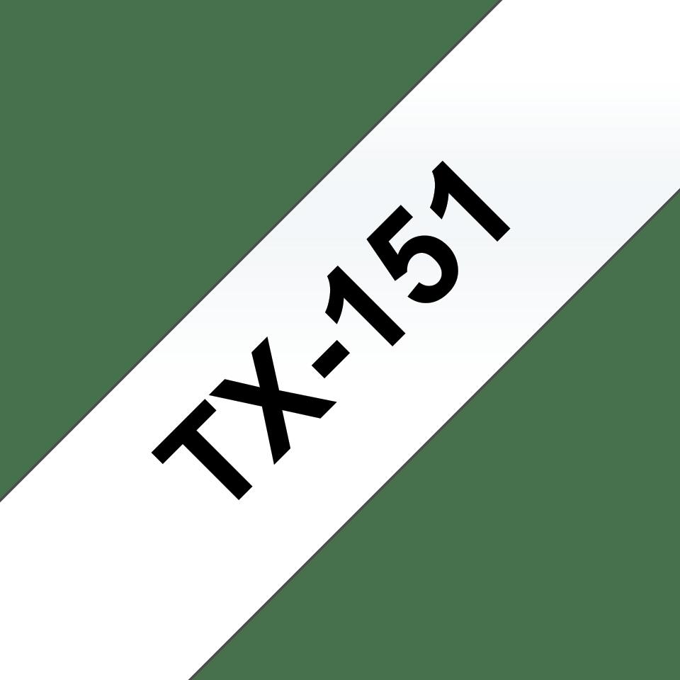 Originální pásková kazeta pro tisk štítků Brother TX151 – černý tisk na čirém podkladu, šířka 24 mm