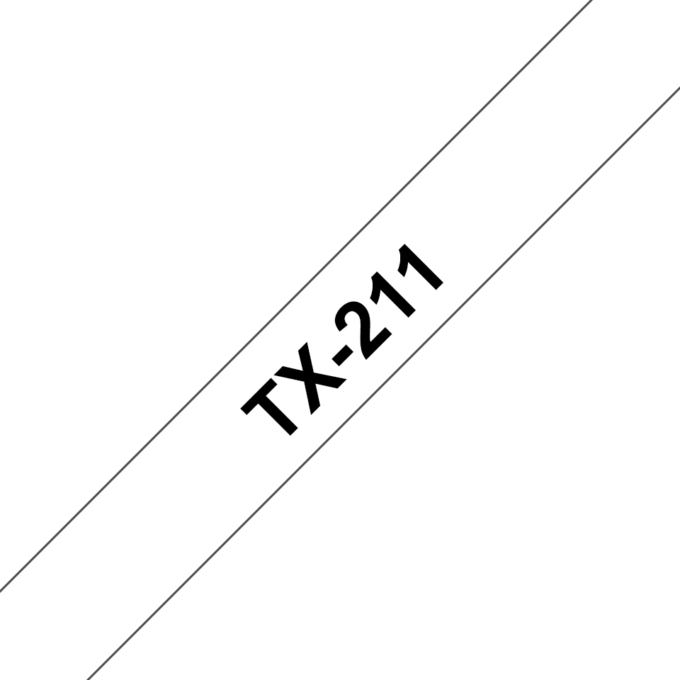 Originální pásková kazeta pro tisk štítků Brother TX211 – černý tisk na bílém podkladu, šířka 6 mm