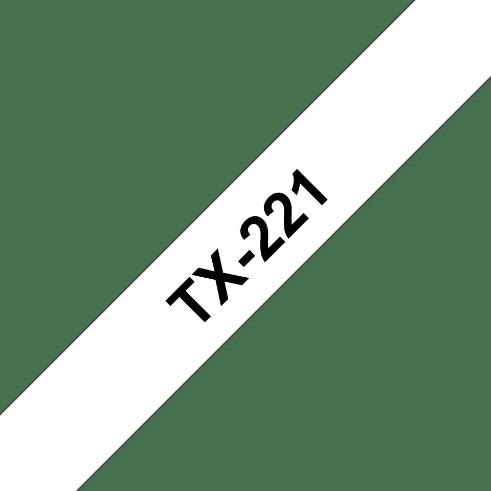 Originální pásková kazeta pro tisk štítků Brother TX221 – černý tisk na bílém podkladu, šířka 9 mm
