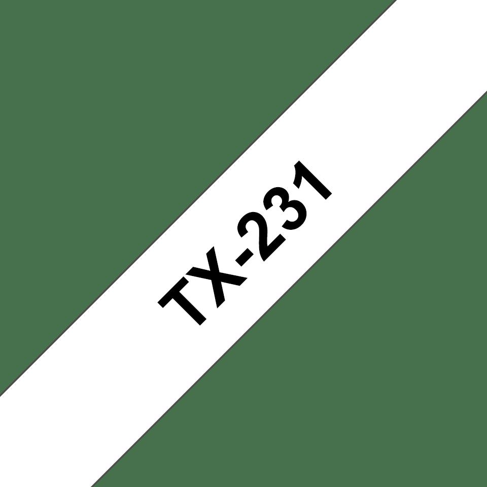 Originální pásková kazeta pro tisk štítků Brother TX231 – černý tisk na bílém podkladu, šířka 12 mm