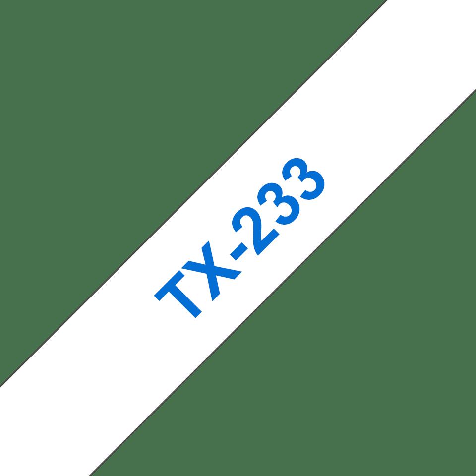 Originální pásková kazeta pro tisk štítků Brother TX233 – modrý tisk na bílém podkladu, šířka 12 mm
