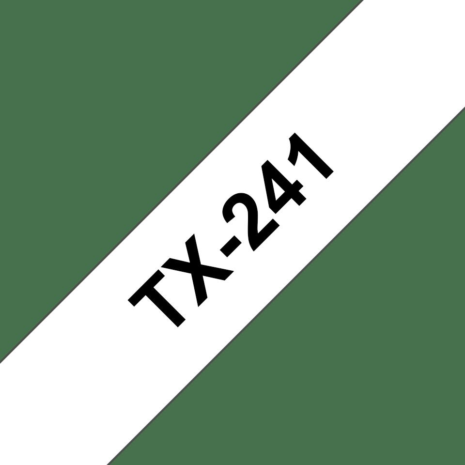 Originální pásková kazeta pro tisk štítků Brother TX241 – černý tisk na bílém podkladu, šířka 18 mm